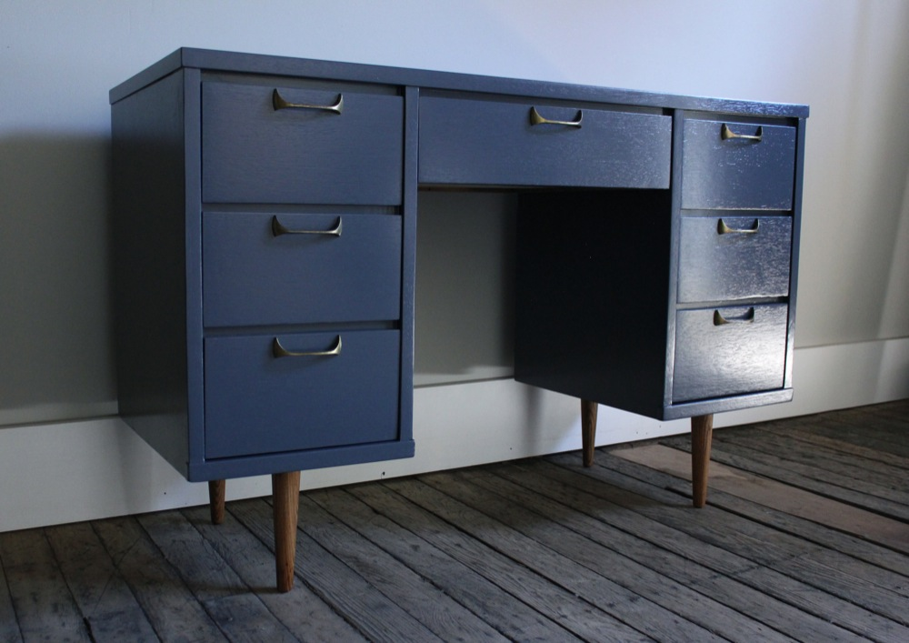 navy blue desk. They Are Solidly Constructed With Dovetail Joints. The Brass Drawer Pulls Original. Have A Nice, Natural Patina. Desk Measures: 46\ Navy Blue D
