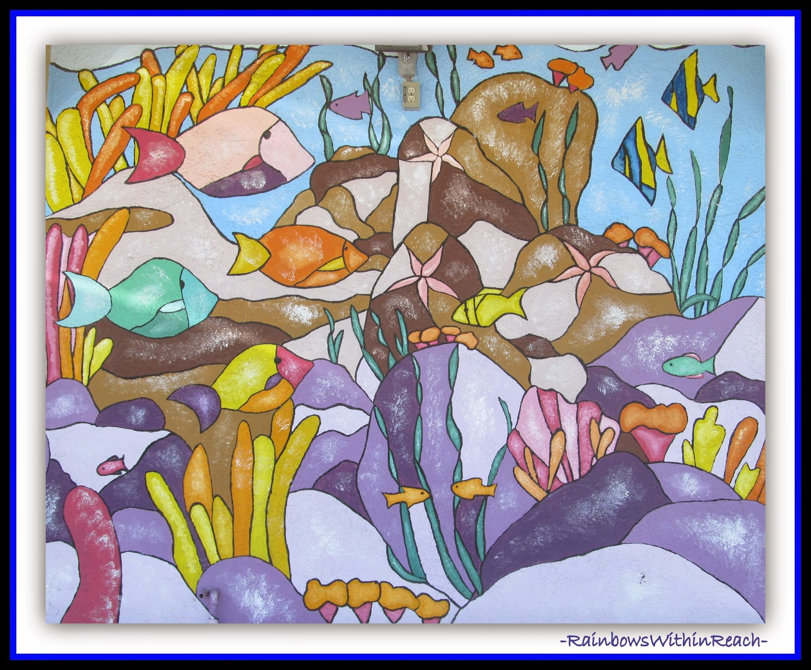 Ocean Coral Reef Mural {Ocean RoundUP at RainbowsWithinreach}