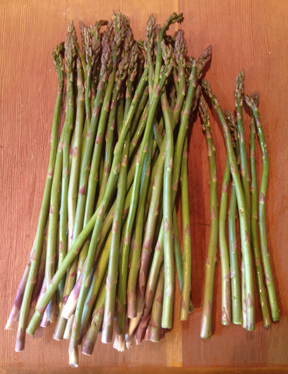 Asparagus beng trimmed for the salad