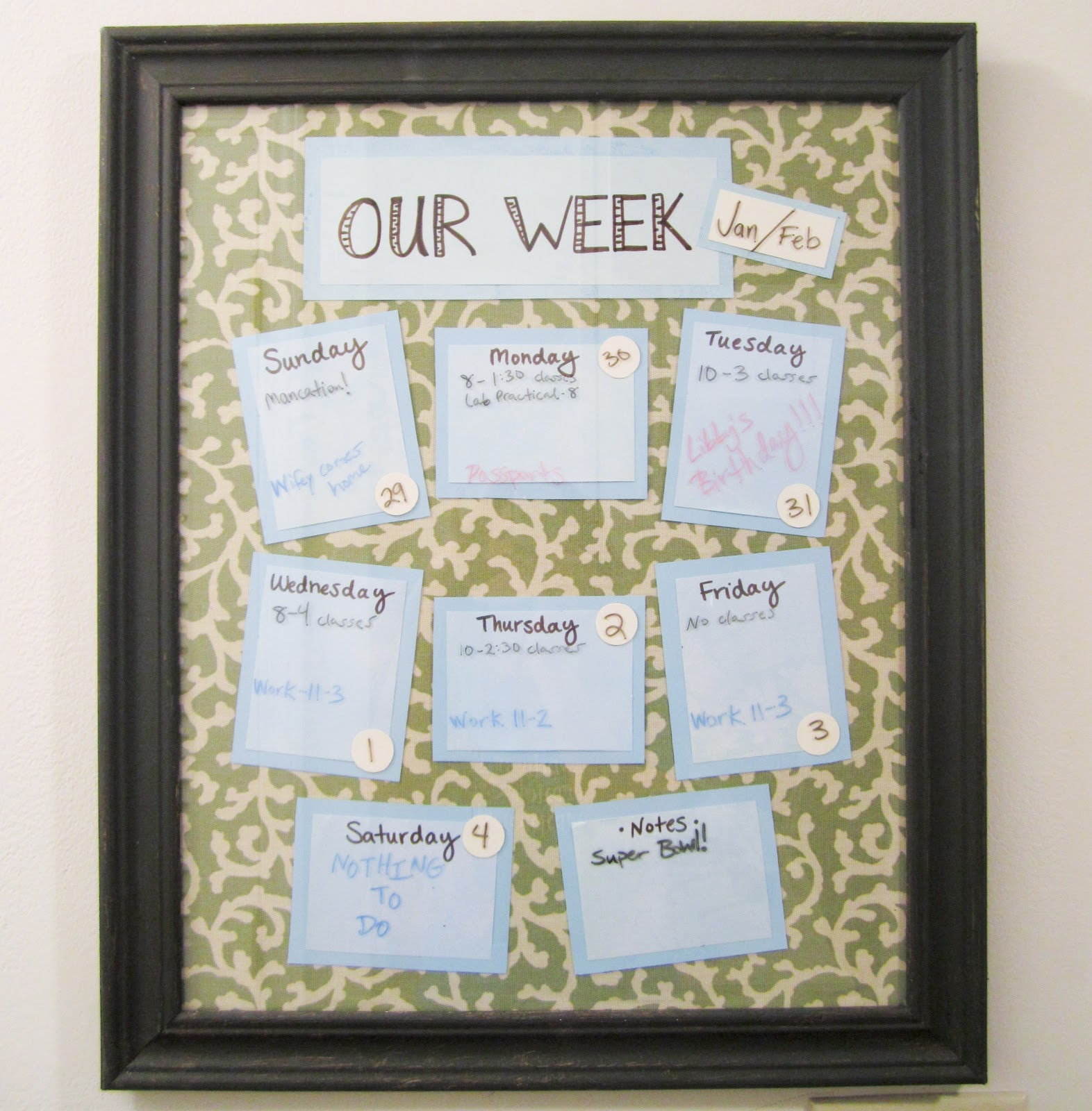 Diy Weekly Calendar : Williams way diy weekly calendar