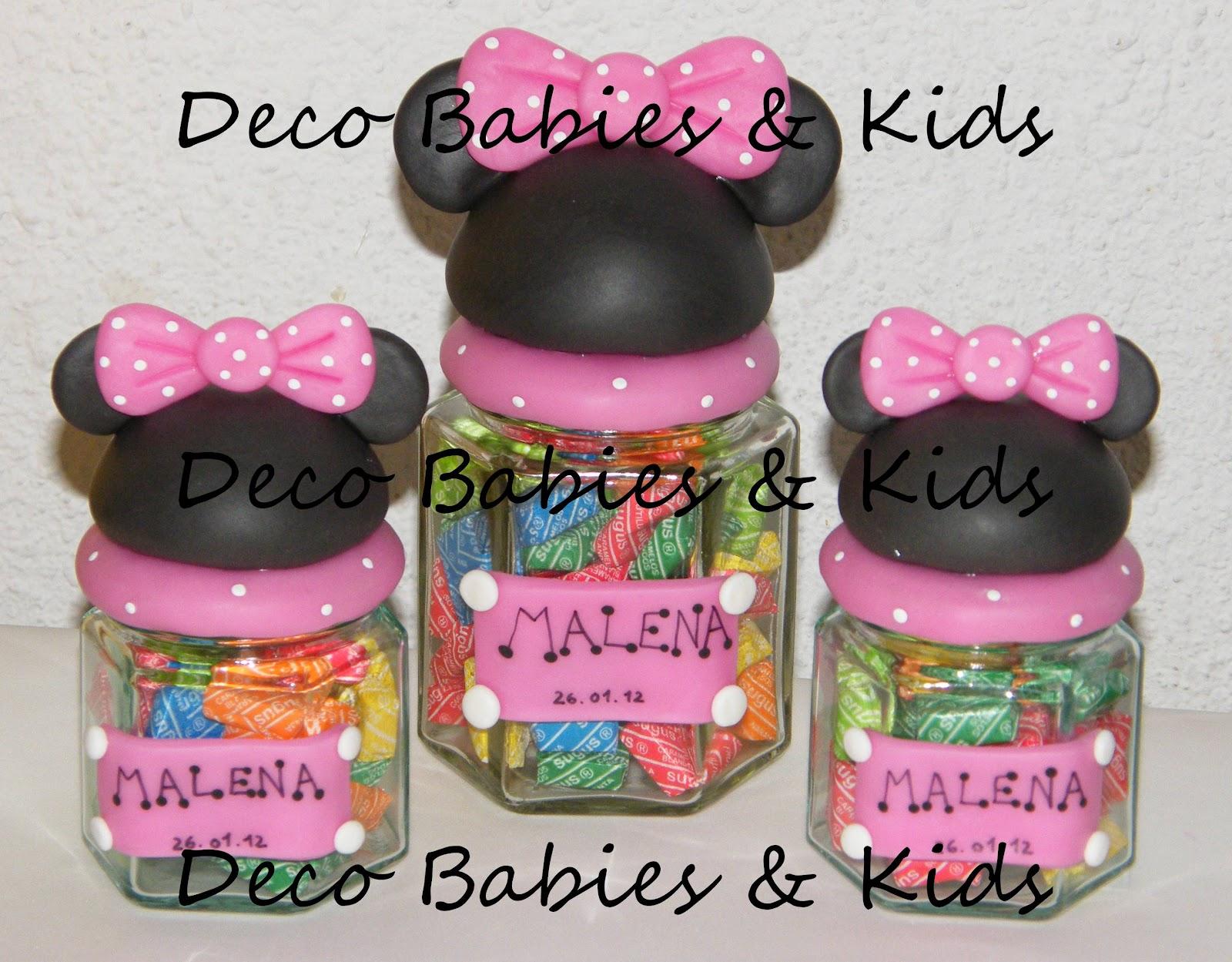Frascos hexagonales media silueta Mickey y Minnie con cartel