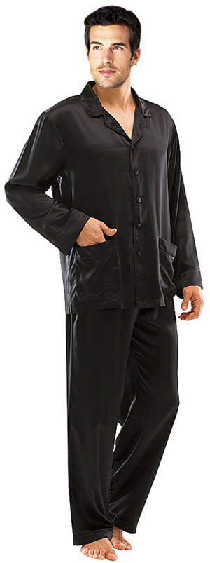 Men Fashion Dresses: Classic Style Black Charmeuse Silk Pajamas ...