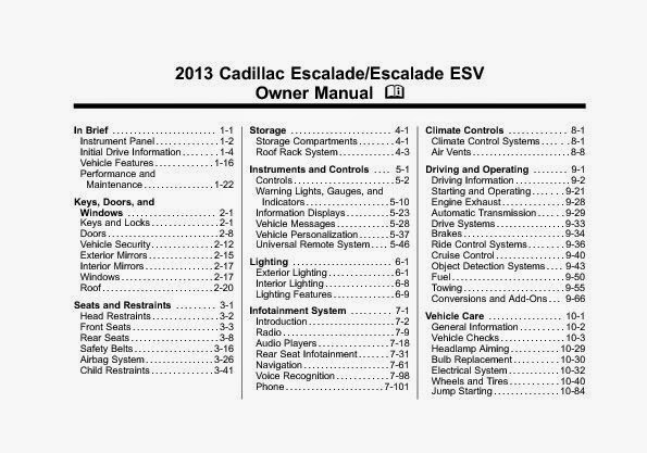 2010 Cadillac Escalade Owners Manual Pdf