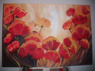 Pinturas de leandra flores rojas - Bimago cuadros modernos ...
