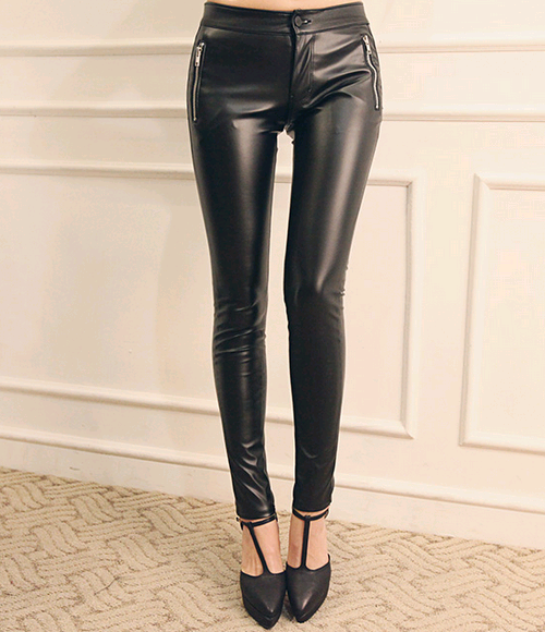 Brushed Lining Glossy Leather Pants