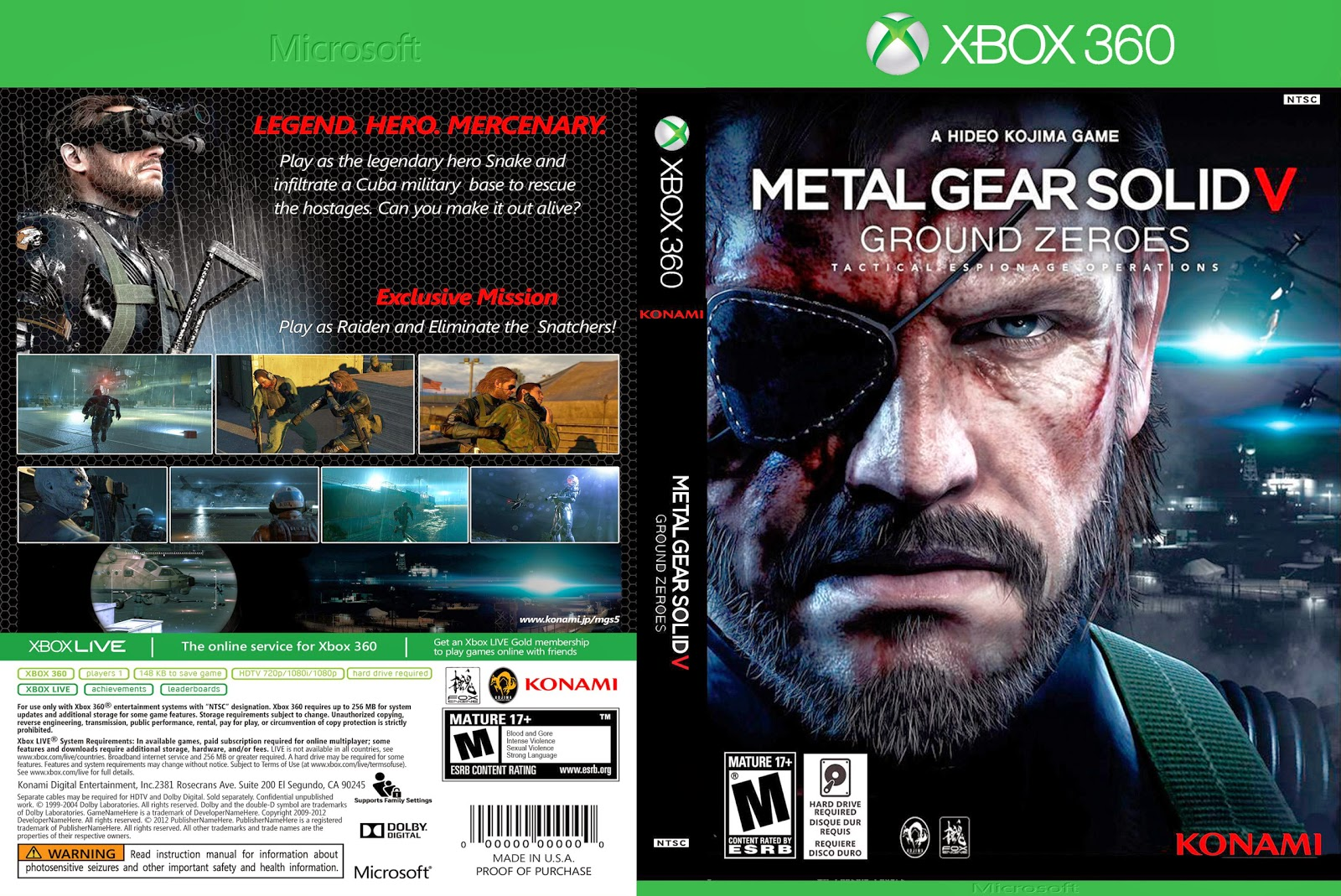 Capa Metal Gear Solid V Ground Zeroes Xbox 360