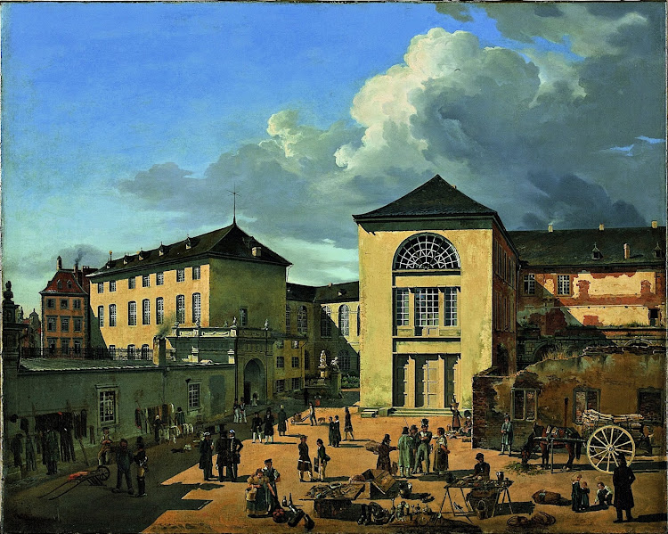 Andreas Achenbach - The Academy Courtyard in Düsseldorf