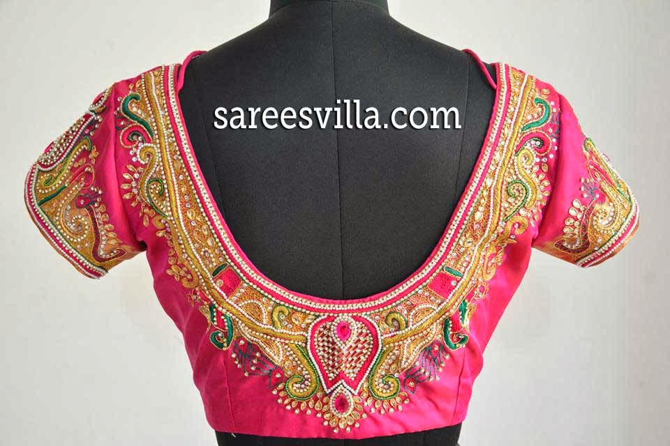 Zardosi Work Designs On Blouses 79