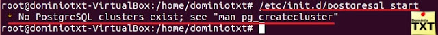 DominioTXT - PostgreSql No Clusters Exist