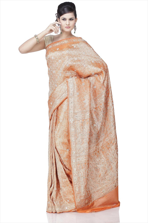 Russett Orange Art Kattan Silk Banarasi Saree