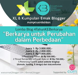 "Banner Lomba Blog 4 tahun KEB ""Berkarya untuk perubahan dalam perubahan"