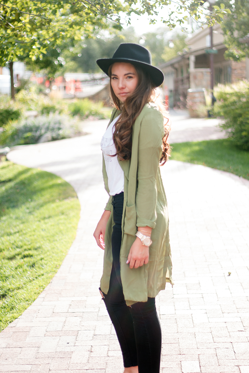 contemporary outfit with long blazer and hat