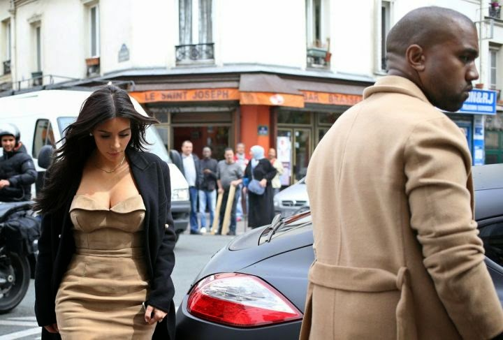 pictures of kanye west and kim kardashian in paris
