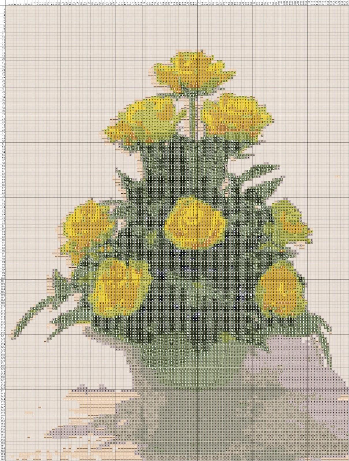 gambar pola kristik rangkaian bunga mawar kuning gambar bunga kecubung