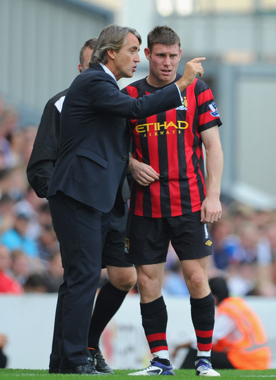 Mancini - Milner Blackburn Rovers vs Manchester City Barclays Premier League