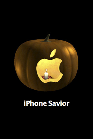 Carved Apple - iPhone Halloween wallpaper