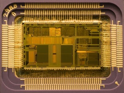 Image: Intel 80486DX2 processor die, 12×6.75 mm, in its packaging (Wikipedia)
