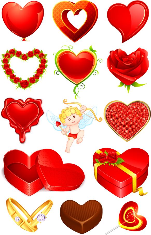 バレンタインデーのハート型素材 Heart elements of romantic valentine's day イラスト素材