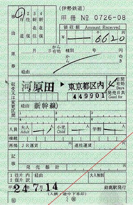 伊勢鉄道 出札補充券 鈴鹿駅 JR線内完結乗車券