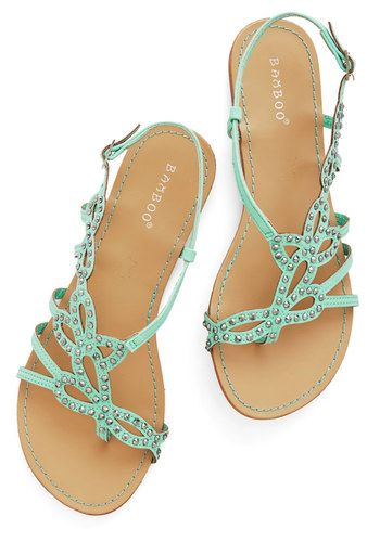Mint Flat Sandals For Summer