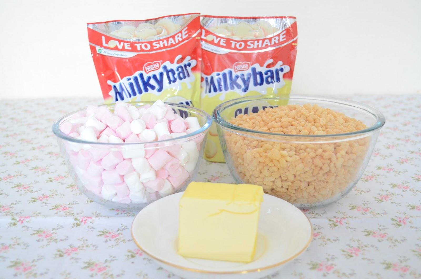 White Chocolate Crispy Cakes Marshmallow