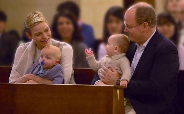 Prince Albert and Princess Charlene of Monaco, and their twins children Prince Jacques and Princess Gabriella attended the Sunday service