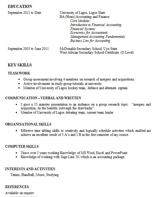good resume example for first job