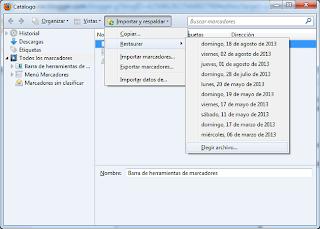Firefox: Importar y exportar --> Restaurar --> Elegir archivo
