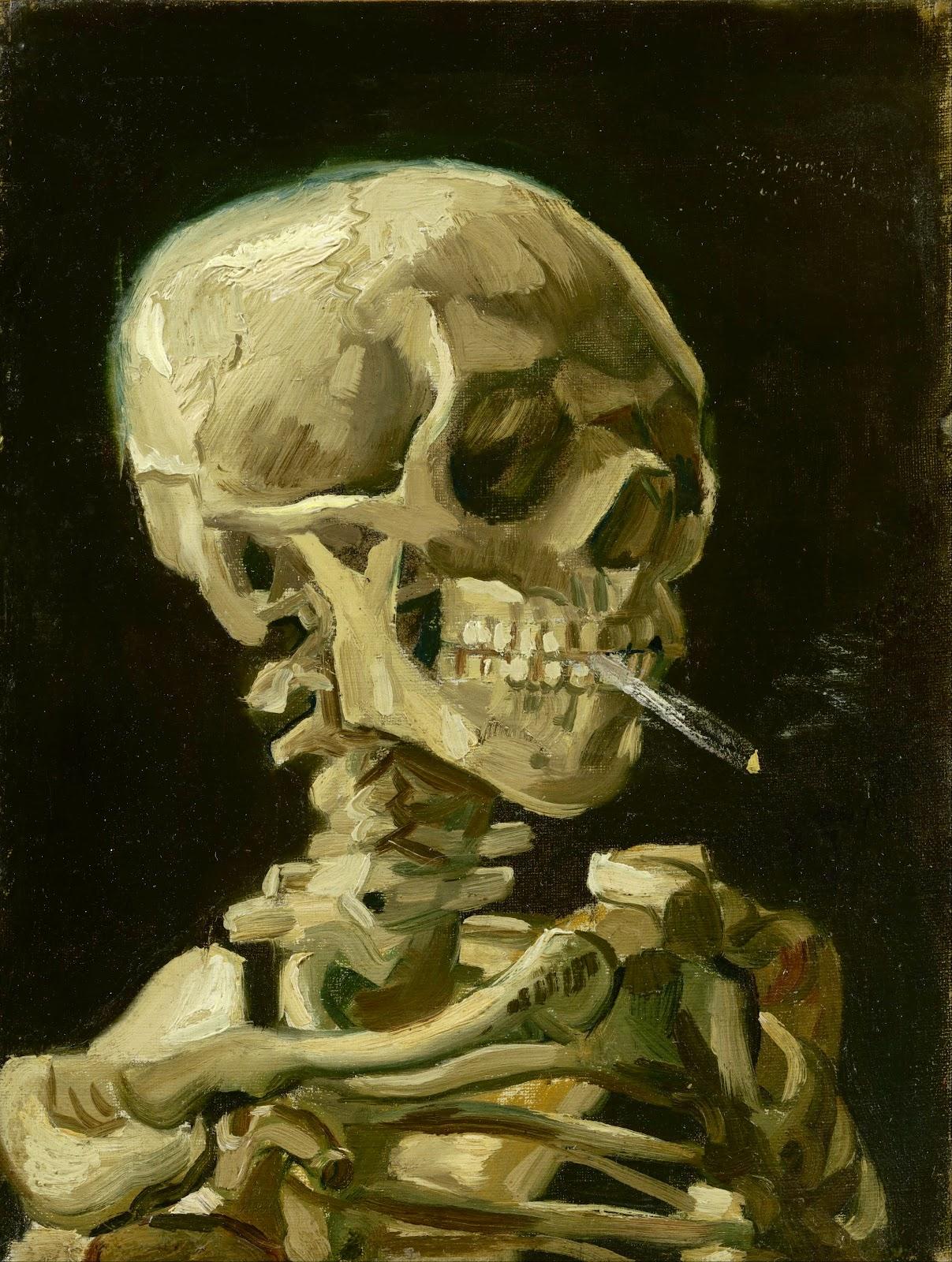 Kop van een skelet met brandende sigaret (Vincent van Gogh, 1885-86)
