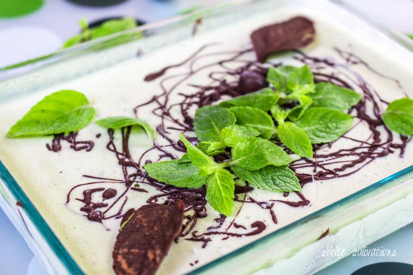 Fresh Mint Stracciatella Ice Cream with chocolate leaves | Svelte Salivations