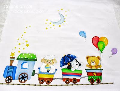 pintura de trem com bichinhos e balões