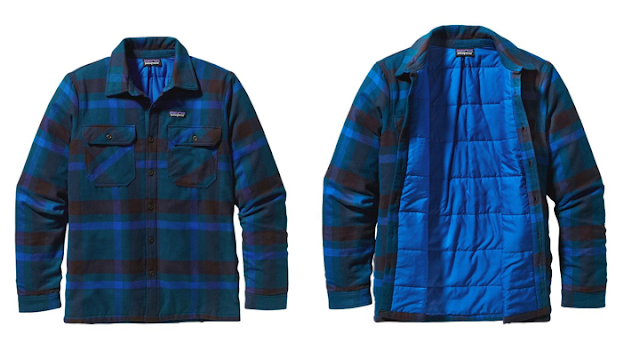 It's getting to be that time of year when you need to break out the flannels and the layering gear.  Patagonia has you covered this Fall with the Fjord Insulated Flannel.  Outer is made from 100% Organic Cotton and the inner liner is made of 60-g Thermogreen and polyester.  I found a pretty good article here about synthetic insulation versus down, etc.  It's worth a read, especially if you are adding to your wardrobe this season.   The Fjord Insulated Flannel currently comes in three different colorways.  I like the Cornstalk Deep Mahogany (above) the best.  It's a classic design with modern fabrics coming into play.  I know that Patagonia seeks to offer some high-quality goods, so this is sure to be a winner for whatever cold temps are coming your way.     Unfortunately for us gals, no insulated Fjord yet, but the original is here and I'm totally digging the exclusive gaucho stripe.