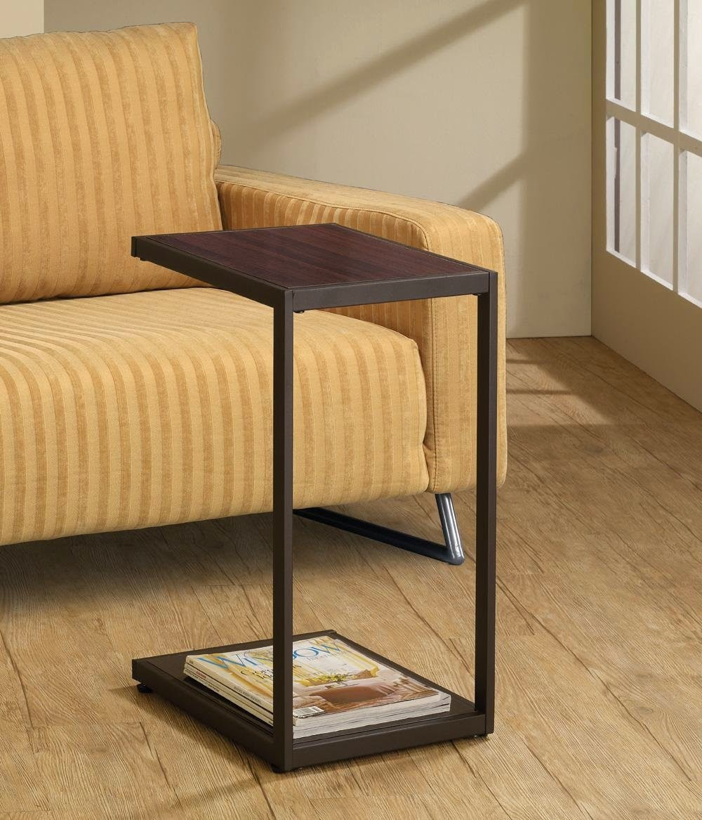 To See More About This High Rated Sofa Table: Classic Brown Finish Slide Under  Couch Snack/Laptop Table. U0027