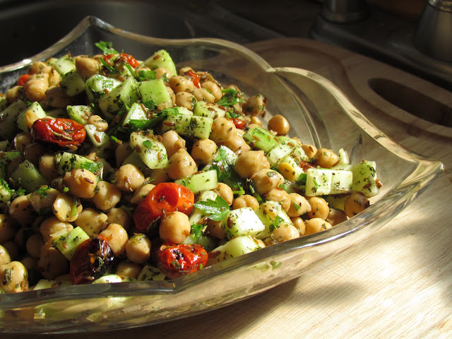 Warm Chickpea Salad with Cumin & Garlic