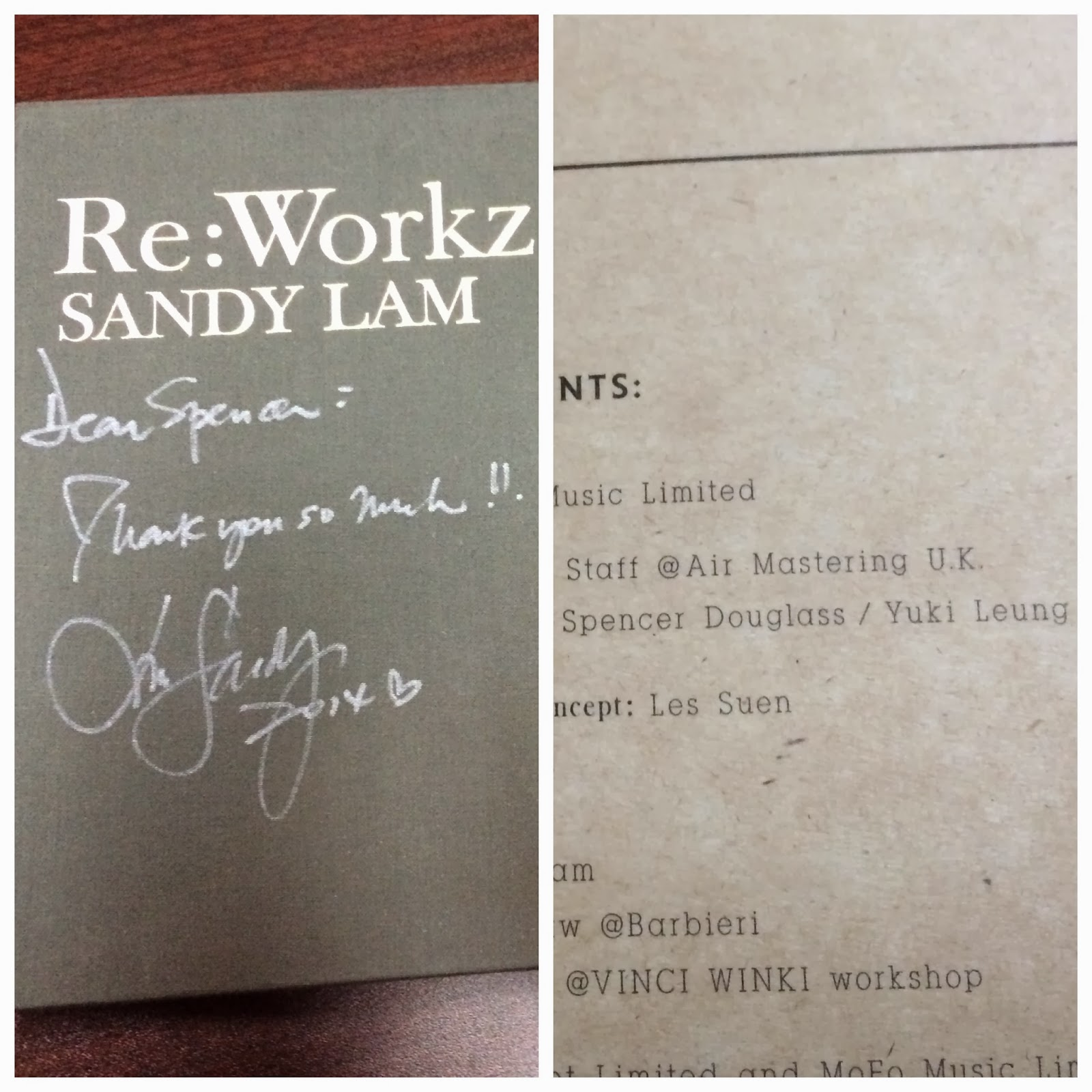 Spencer Douglass credit as Project Manager on Sandy Lam 林憶蓮 album Re:Workz