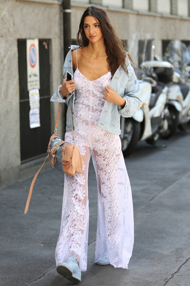 Sara Nicole Rossetto in a sheer lace jumpsuit at the Milan Fashion Week SS16