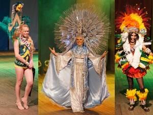 Candidatas mostraram trajes típicos (Foto: Krystine Carneiro)