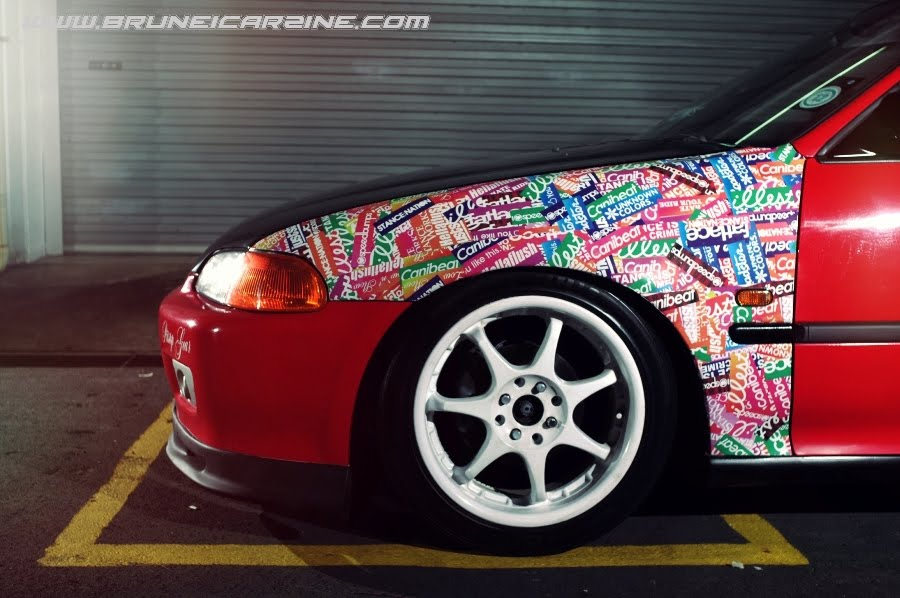 Sticker Bomb Civic http://www.bruneicarzine.com/2012/01/color-frenzy-muss-usdm-inspired-honda.html