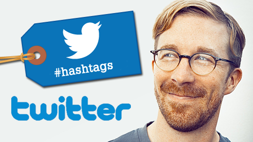 "A cartoon tag shows the Twitter logo with the text ""#hashtag"" underneath.  A photo of Chris Messina smiles next to it."