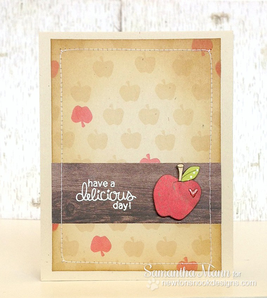 Apple Card by Samantha Mann for Newton's Nook Designs | Apple Delights Stamp Set