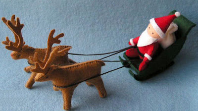 Papai noel e renas de feltro - passo a passo decoração de natal