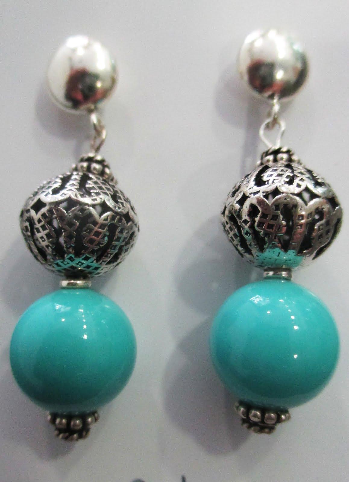 Pendientes de plata  y turquesas