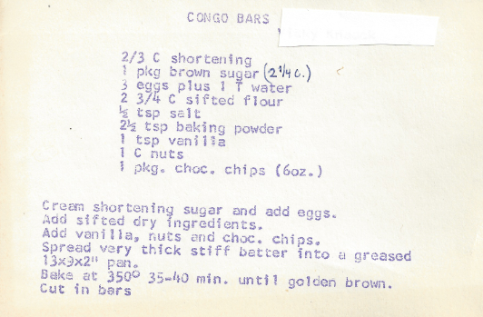 Recipe for Congo Bars