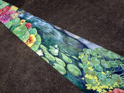 large floral mural, floral banner mural, eugene oregon muralist, bright flower mural