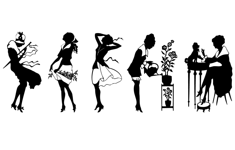 女性の動作のシルエット retro woman vector イラスト素材