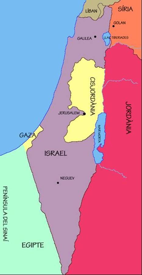 mapa de israel a color