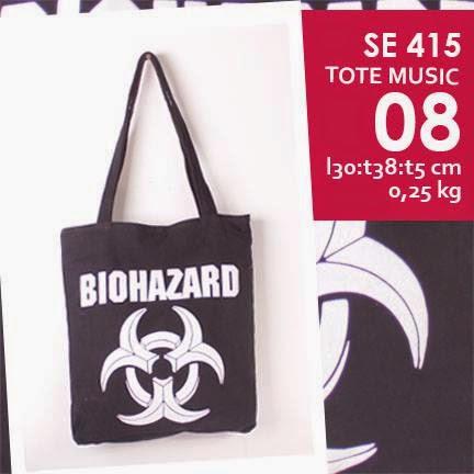 jual online tote bag kanvas murah tema music logo grup band biohazard