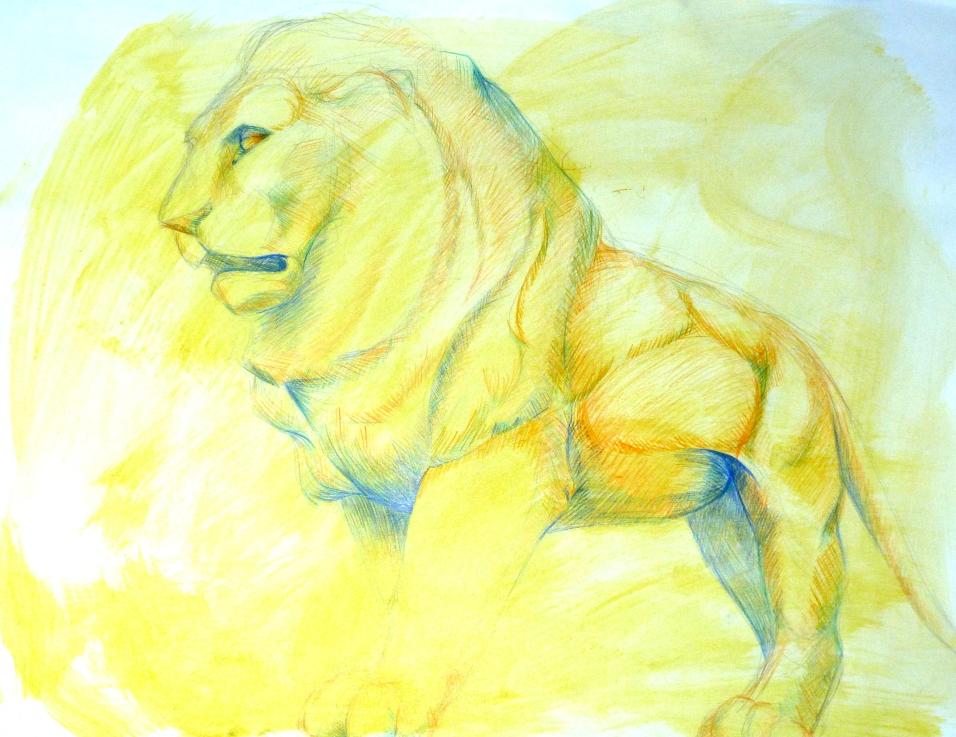 manu lafay acrylique crayons de couleurs le lion et la souris
