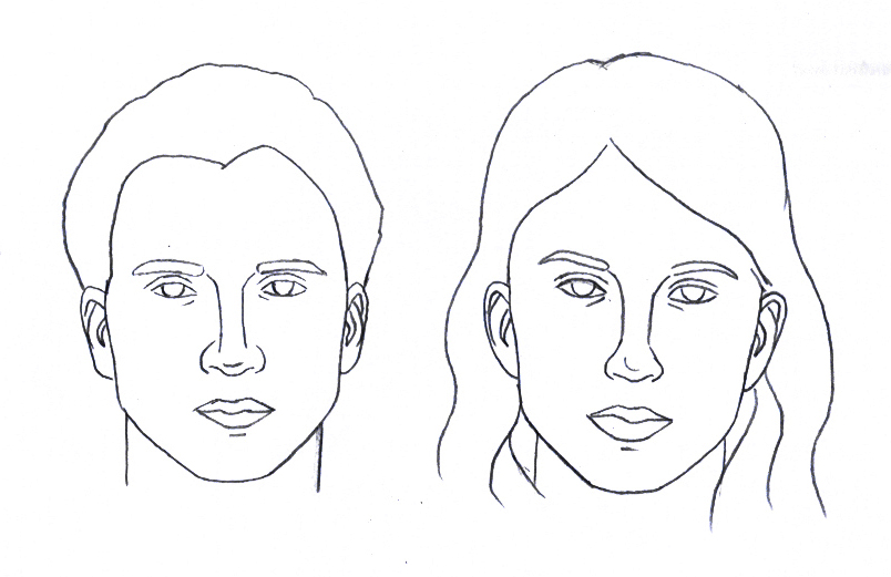 Line Drawing Face Woman : Faithhaller man woman face charts for you