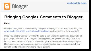 Memasang Komentar Google plus di Blogger